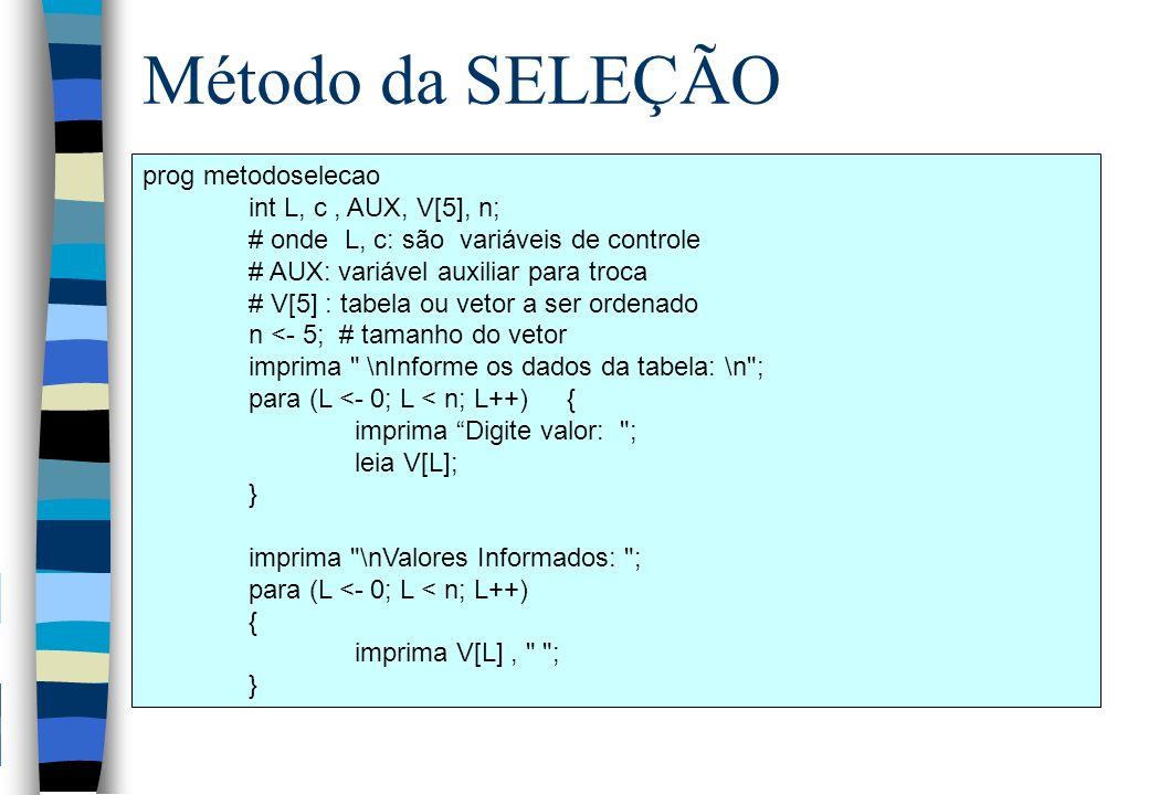 Método da SELEÇÃO prog metodoselecao int L, c , AUX, V[5], n;